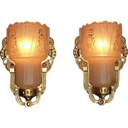 Pair of Art Deco Slip Shade Sconces, Signed Lightolier