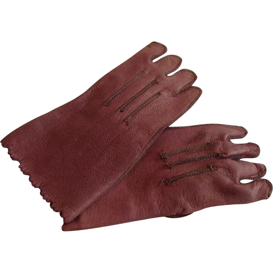 """""""Ashes of Roses"""" Leather Gloves for French Bisque Doll!"""