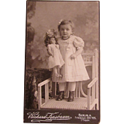 German Cabinet Card Photo of Toddler and Her Antique Doll!