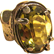 Hand Made Silver and Lemon Quartz Ring Size 6