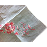 "Swiss Cotton ""Mother"" Hanky with Embossed Decoration"