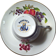 SALE Regency Bone China Demitasse - Decorated with Plums, Grapes, Blackberries, and Cherries