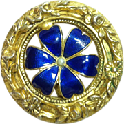 Beautiful Brooch with Enameled Cobalt Panels - Signed Freirich