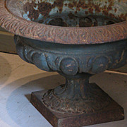 19th Century French Cast Iron Classical Garden Urns (Pair)