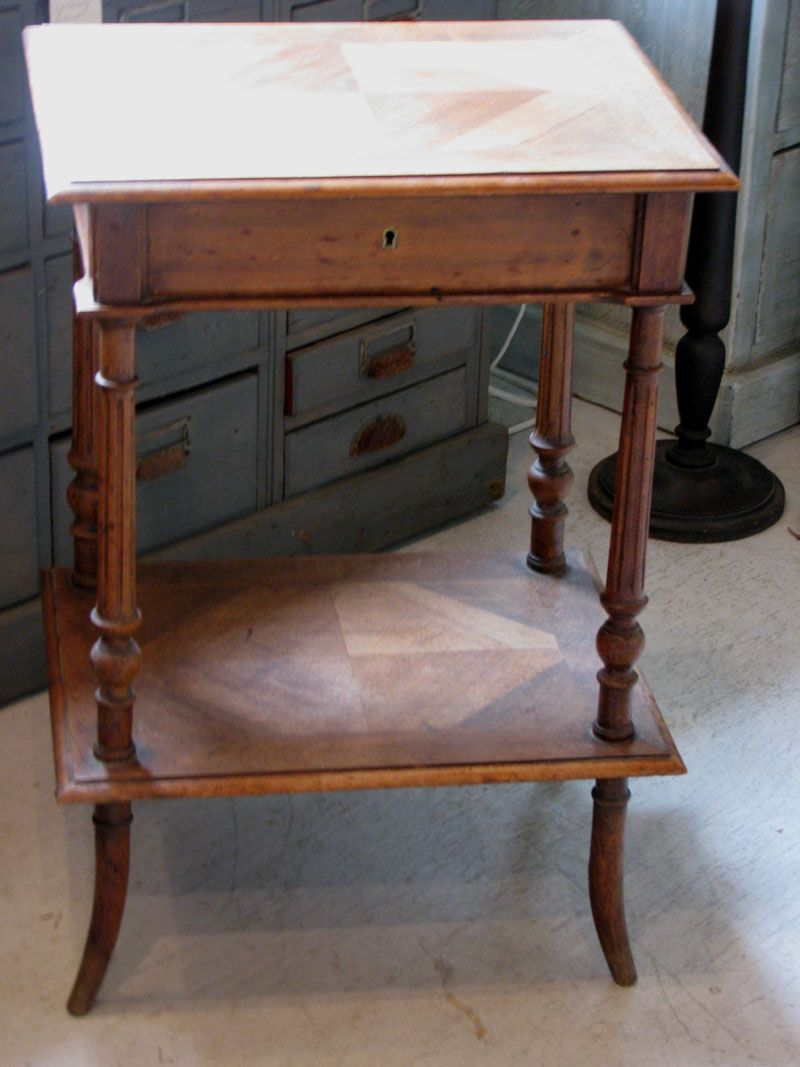French Louis XVI Style Walnut Etagere Side Table