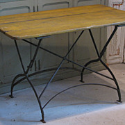 French Antique  Metal & Wood Bistro Garden Table