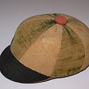 Antique Pin Cushion in the form of a Jockey's Hat Hand Stitched