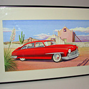 Great Air Brush Illustration of a 1950's Car Out west