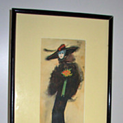 Watercolor of a Tall Woman with Flowers Signed Paul Calvo
