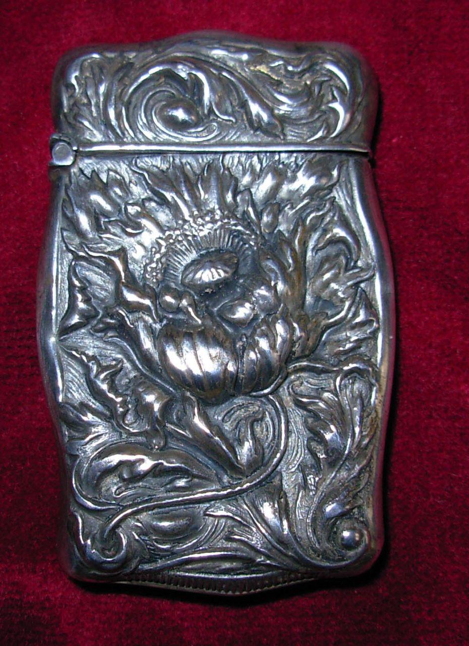 Antique Sterling Silver Match Safe or Vesta with Floral Design