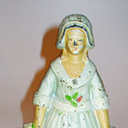 Cast Iron Doorstop Woman Holding Two Baskets cjo 1270