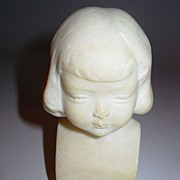 Old Small Sculpture of Little Girl Signed in Marble or Alabaster