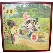 Old Black Americana 3 Black Kids in Corn Watermelon Car Printed on Linen