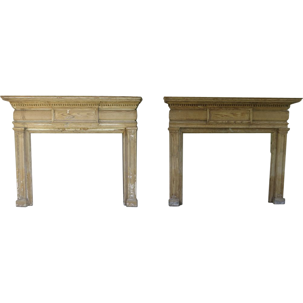 Pair American Pine Fireplace Mantels