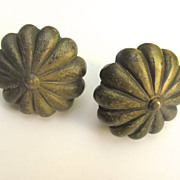 "Italian Vintage Brass Knobs 1 1/2"" Quality"