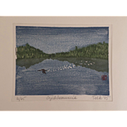 Signed Numbered Woodblock Print by Telk 1985 OGISHKEMUNCIE King Fisher