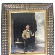 Oil on Board of a Man with Church Warden Pipe.