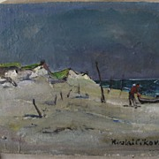 Oil on Canvas by Nicolai Cikovsky  Beach Scene