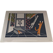Signed Numbered Serigraph Silk Screen by Teresa Farr Austin, TX 1990 Cats