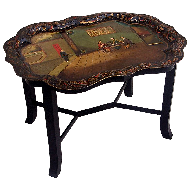 English Tole Chinoiserie Decorated Tole Tray