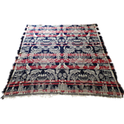 19th Century American Jacquard Coverlette Bird of Paradise Christian Heathen Border, Birds Houses Churches