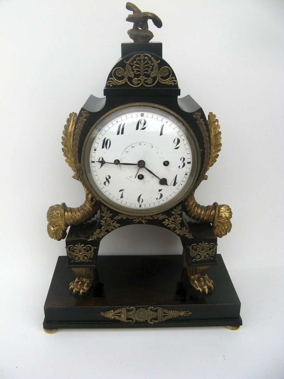 French Ebonized Empire Mantel Clock