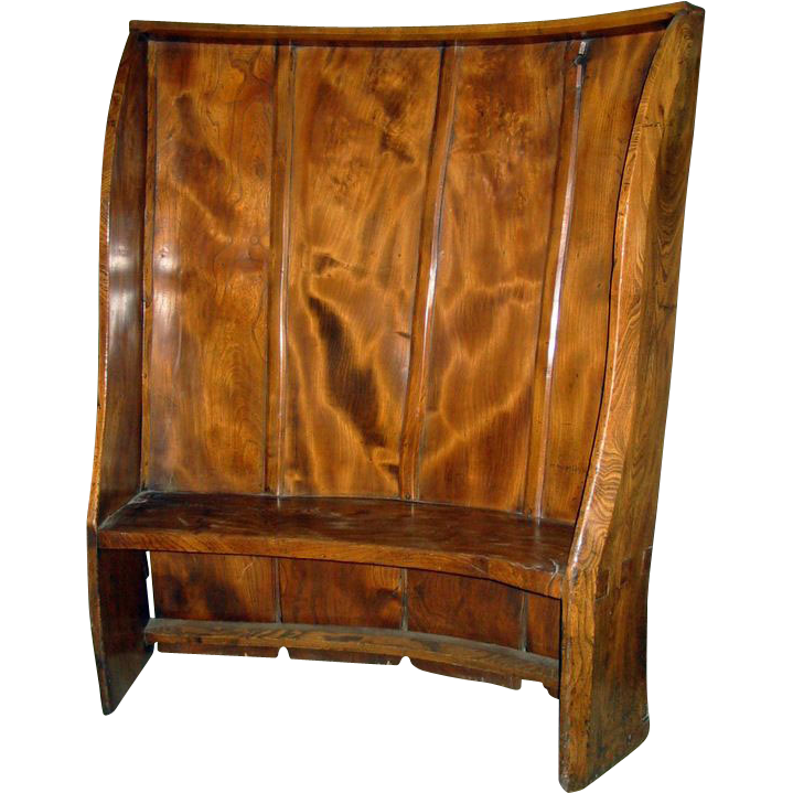 English Elm Curved Settle c 1740