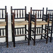Set of (4) Four Rustic Turned Bar Stools