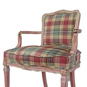 French Louis XVI Style Painted Arm Chair.