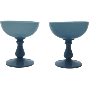 Two (2) Vintage  Portieux Vallerysthal PV France Blue Opaline Champagne Sherbet Glasses