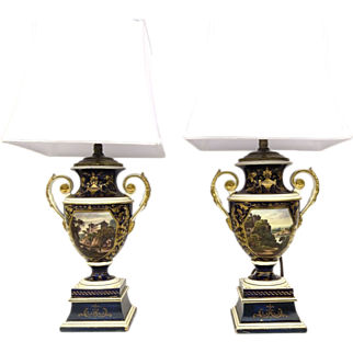 Pair of English Porcelain Footed Urns now as Lamps