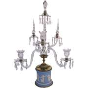 Jasperware Base Five Arm Crystal Candelabra