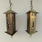 Pair of Brass and Copper Pierced work Lanterns