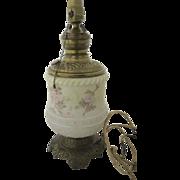 Painted Milk Glass Oil Lamp