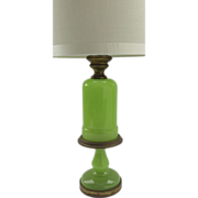 Vintage Lime Green Opaline Lamp By Paul Hanson