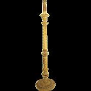 Vintage Italian Carved and Gilt Floor Lamp with Barley Twist Column