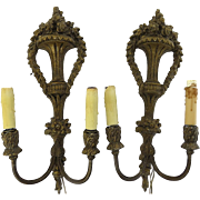 Pair of Vintage French Sconces with Flower Motif and Garland