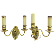 Pair of Vintage Bronze French Two Arm Sconces with Gold Plating