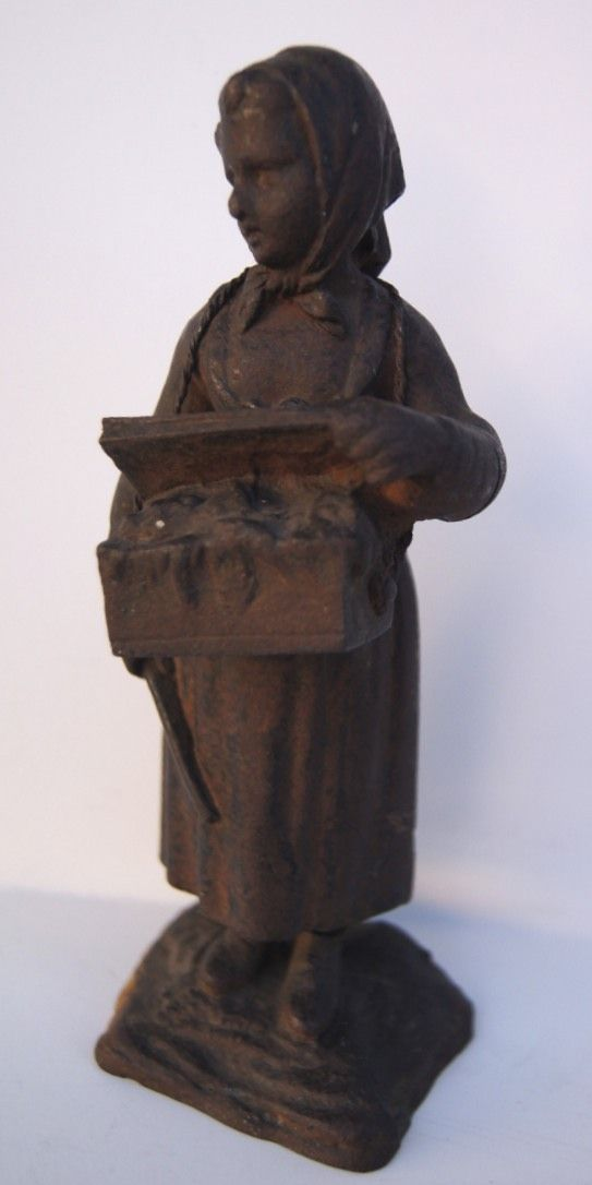 Cast Iron Figure a Peasant Woman Selling Fruit in Market