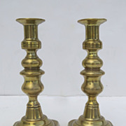 Pair of English Brass Square Base Candlesticks Early 19th Century