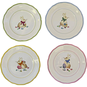 Vintage Set of Four (4) Williams-Sonoma Easter Spring Bunny Rabbit Dessert Plates 8 1/4""