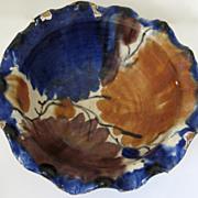 Pair of Ruffle Edge Vintage Oaxaca Mexico Glazed Bowls