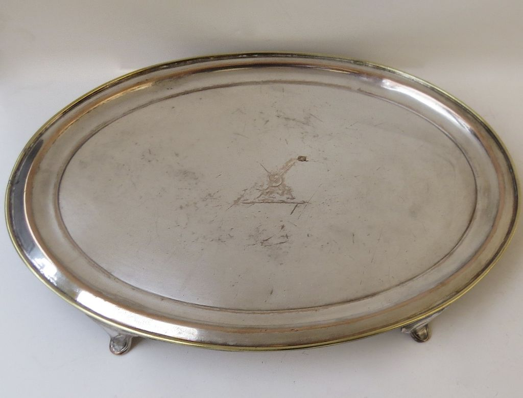 Early Fused Plate Sheffield Oval Salver with Armorial