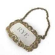 "English Sterling Silver Decanter Tag by C. J. Vander Ltd.  ""Rye"""
