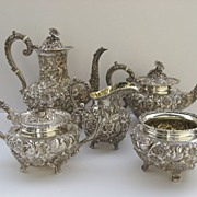 Sterling Silver Tea Coffee Set Repousse Baltimore Rose by Schofield