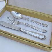 3 Piece Italian Silver 800 Finess Child's Cutlery Set in Box