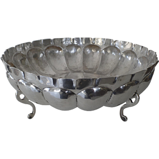 """Large Vintage Sterling Silver Bowl Footed Mellon Ribbed 12"""" Diameter Maciel Mid Century Mexico Mexican"""