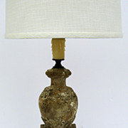 French Carved Wood Candlestick now as Lamp