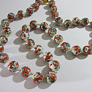 Vintage Chinese Porcelain Bead Good Luck Dragon Necklace, 24""