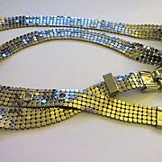 Vintage Slinky Silver Tone Metal Mesh Belt with Buckle
